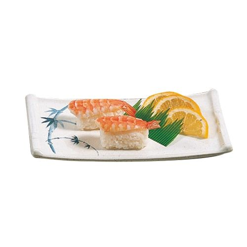 Thunder Group 0011BB 8 1/2 x 4 3/4 Inch Asian Blue Bamboo Melamine Rectangular White Sashimi Platter, DZ
