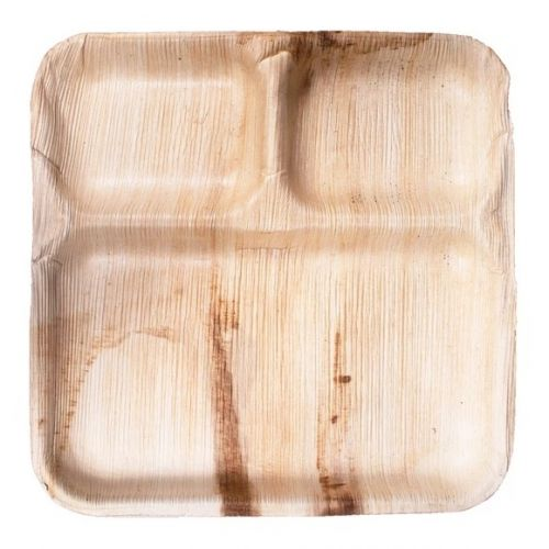 VerTerra 02-25-03C-X 9-inch Eco-Friendly Square 3-Compartment Palm Leaf Plate, 25/PK