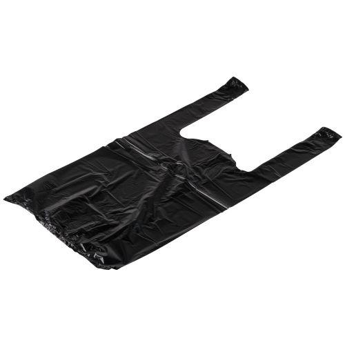 Rainbow 1/10B-1500, 1/10-Size Black Plastic T-Shirt Shopping Bags, Small, 1500/CS
