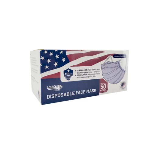Easy To Breathe 100190, Made in USA Blue Earloop Face Masks, 50/PK