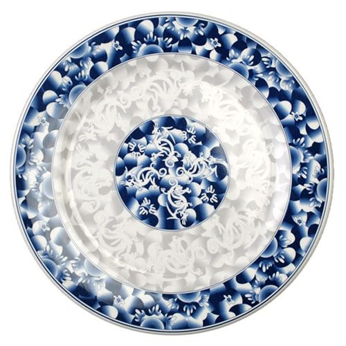 Thunder Group 1013DL 12 5/8 Inch Diameter Asian Blue Dragon Melamine Plate, DZ