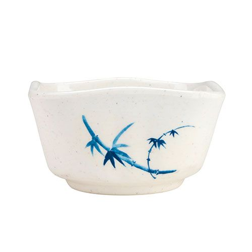 Thunder Group 1035BB 6 Oz 3 3/8 Inch Asian Blue Bamboo Melamine Round White Vegetable Dish, DZ