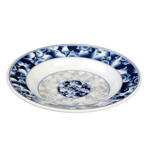 Thunder Group 1109DL 10 Oz 9 1/4 Inch Diameter Asian Blue Dragon Melamine Round Soup Plate, DZ