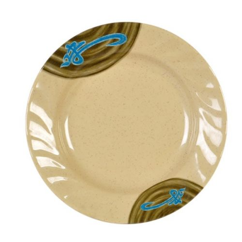 Thunder Group 1210J 10 1/2 Inch Asian Wei Melamine Curved Rim Plate, DZ