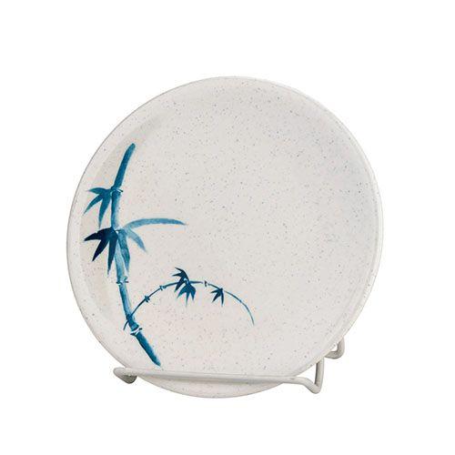 Thunder Group 1360BB 5-7/8 Inch Asian Blue Bamboo Melamine Round White Plate, DZ