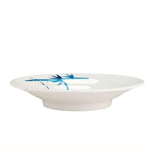 Thunder Group 1365BB 6 1/2 Inch Asian Blue Bamboo Melamine Round White Soup Plate, DZ