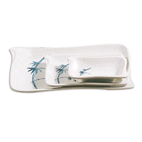 Thunder Group 1607BB 2 Oz 4 x 2 3/4 Inch Asian Blue Bamboo Melamine Rectangular Wave Shape White Sauce Dish, DZ