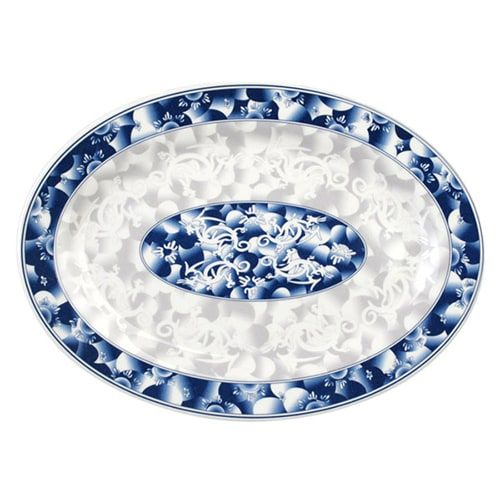 Thunder Group 2012DL 12 x 8 5/8 Inch Asian Blue Dragon Melamine Rectangular Platter, DZ