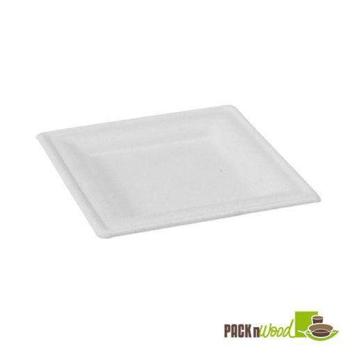 PacknWood 210APU2626BR 10.2x10.2-inch White Rectangular Sugar Cane Plate, 250/CS