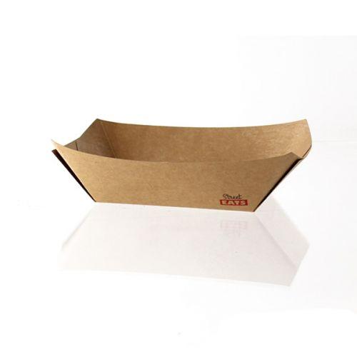 PacknWood 210BQKEAT2, 7.4-Oz Kraft Paper Rectangular Boat, Brown, 1000/CS