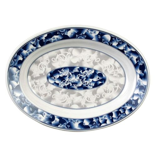 Thunder Group 2114DL 28 Oz 14 1/8 x 10 5/8 Inch Asian Blue Dragon Melamine Rectangular Deep Platter, DZ