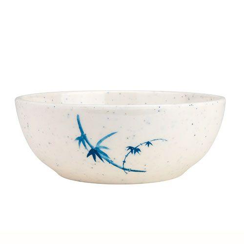 Thunder Group 3001BB 10 Oz 4 1/2 Inch Asian Blue Bamboo Melamine White Round Bowl, DZ