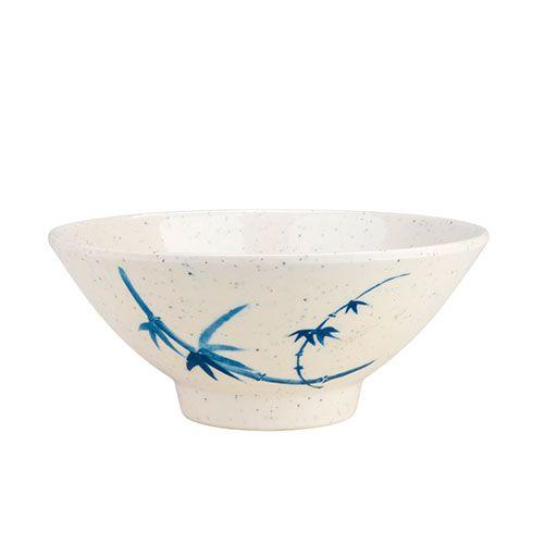 Thunder Group 3005BB 9 Oz 4 3/4 Inch Asian Blue Bamboo Melamine Round White Rice Bowl, DZ