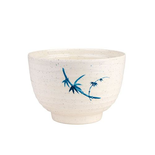 Thunder Group 3502BB 9 Oz 4 Inch Asian Blue Bamboo Melamine Round White Miso Bowl with Lid, DZ