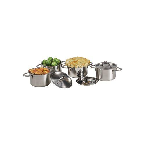 Clipper Mill 4-80999 Satin FinishMini Bistro Pots with Lids 12