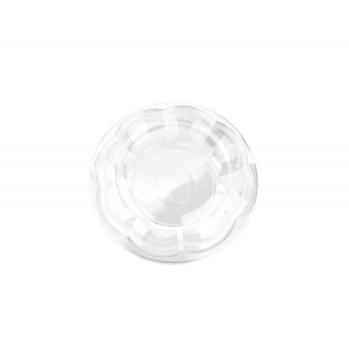 SafePro 40SW100, 40 Oz. 10-inch Crystal Clear PET Swirl Bowl with Swirl Lid Combo, 100/CS