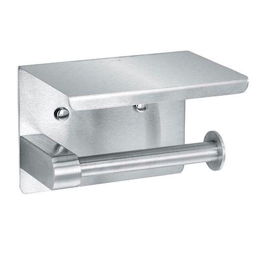 Alpine Industries 487-1-B Brushed Stainless Steel Single Toilet Paper Holder with Shelf Storage Rack, EA