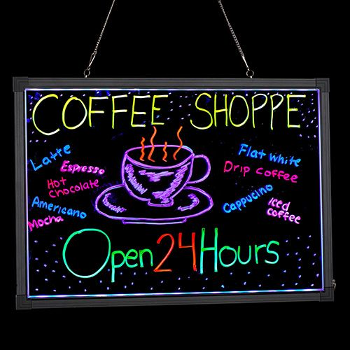Alpine Industries 495-03 28x20-Inch Led Illuminated Hanging Message Writing Board, EA