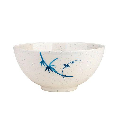 Thunder Group 5207BB 39 Oz 7 Inch Asian Blue Bamboo Melamine Round White Rice Bowl, DZ