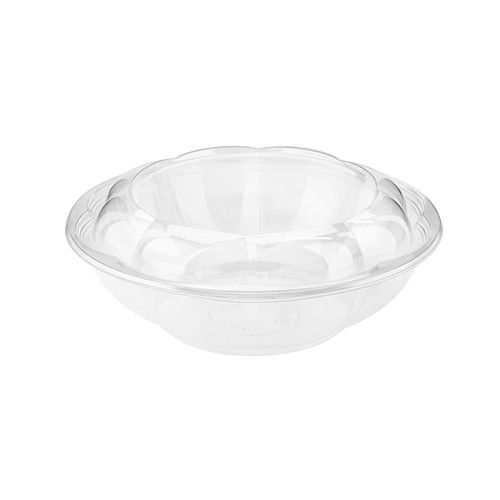 SafePro 64SW100, 64 Oz. Crystall Clear PET Swirl Bowl with Swirl Lid Combo, 100/CS