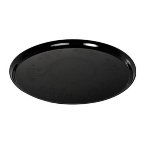 Fineline Settings 7401-BK 14-Inch Platter Pleasers Supreme Round Black Plastic Tray, 25/CS