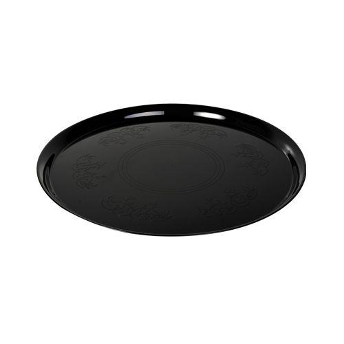 Fineline Settings 7601-BK 16-Inch Platter Pleasers Supreme Round Black Plastic Tray, 25/CS