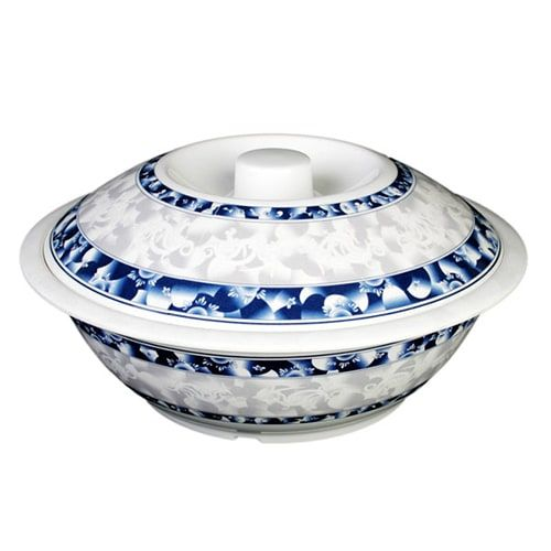Thunder Group 8011DL 80 Oz 11 Inch Diameter Asian Blue Dragon Melamine Serving Bowl with Lid, EA