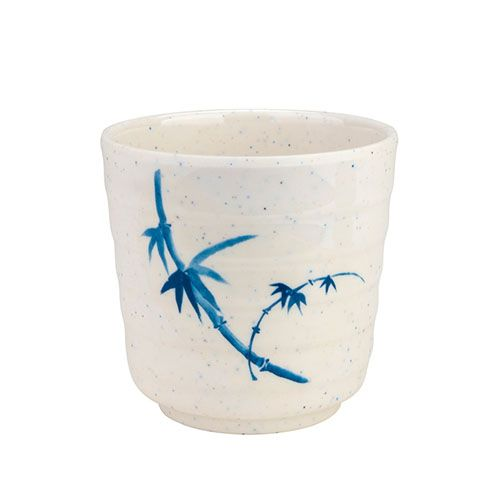 Thunder Group 9302BB 11 Oz 3 1/2 Inch Asian Blue Bamboo Melamine White Tea Cup, DZ