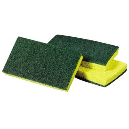 ACS Industries A0074, 6x3.5x0.75-Inch Yellow-n-Green Wet Pack Sponge Scrubbers, 5/PK