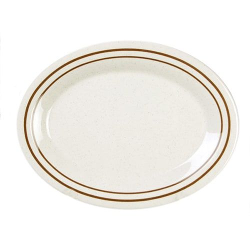 Thunder Group AD209AA 9 1/2 x 7 1/4 Inch Western Arcadia Oval Melamine Beige Platter, DZ