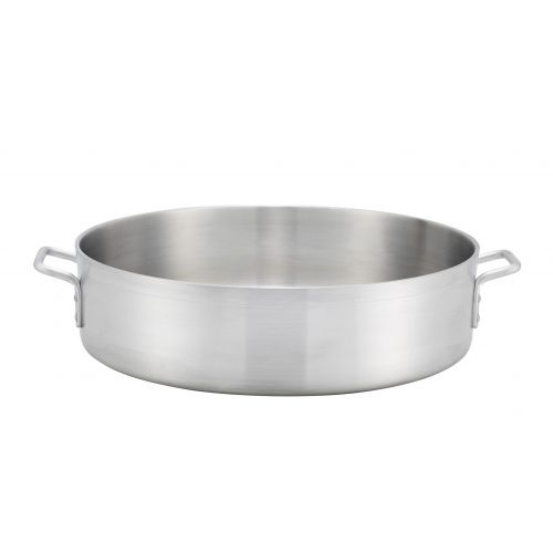 Winco ALBH-15, 15-Quart 6-Inch High Extra-Heavy Precision Aluminum Brazier Pan with 13.8-Inch Diameter
