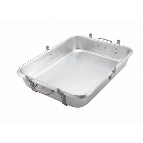 Winco ALRP-1824L, Aluminum Roasting Pan with Straps and Lugs