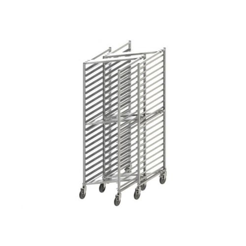 Winco ALZK-20BK, Heavy Duty 20-Tier Rack with Brake for Aluminum Sheet Pans, Nesting Style, 3-inch Spacing, NSF