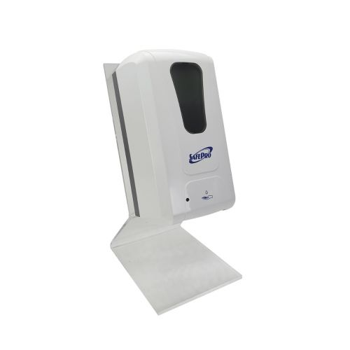 SET: SafePro Automatic Wallmount 40.5 Oz Dispenser with Countertop Stand and 128 Oz Hand Sanitizer