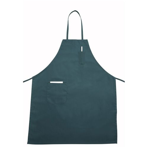 Winco BA-PGN, 31x26-Inch Full-Length Green Bib Apron with Pocket