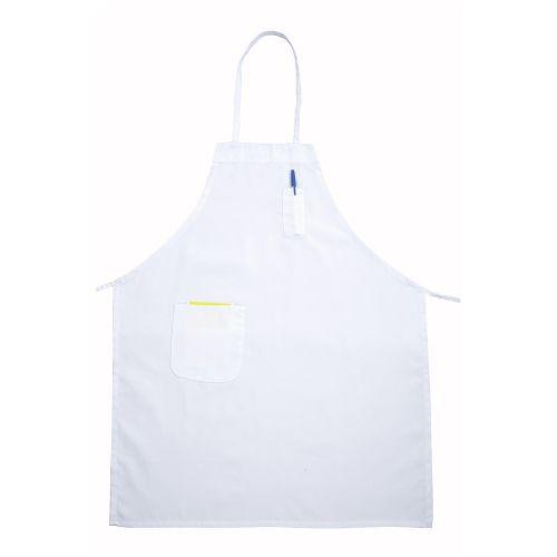 Winco BA-PWH, 31x26 Full-Length White Bib Apron with Pockets