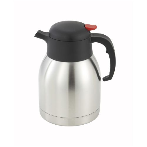 Winco CF-1.5, 1.5-Liter Stainless Steel Body and Liner Carafe with Push Button Top