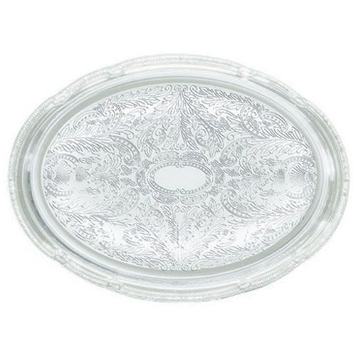 Winco CMT-1014, 15x10x0.5-Inch Chrome Plated Oval Serving Tray with Engraved Edge