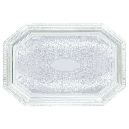 Winco CMT-1217, 12x17-Inch Chrome Plated Octagonal Serving Tray with Engraved Edge