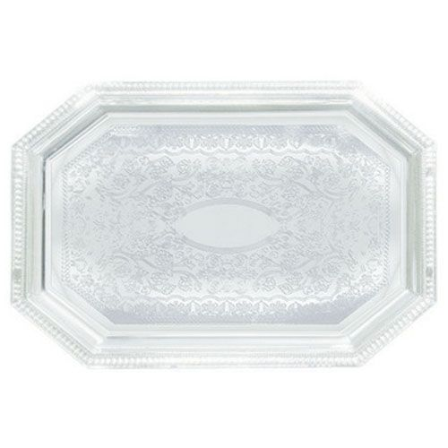 Winco CMT-1420, 14x20-Inch Chrome Plated Octagonal Serving Tray with Engraved Edge
