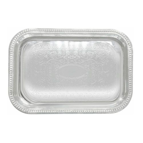Winco CMT-1812, 18x12.5-Inch Chrome Plated Rectangular Serving Tray with Engraved Edge
