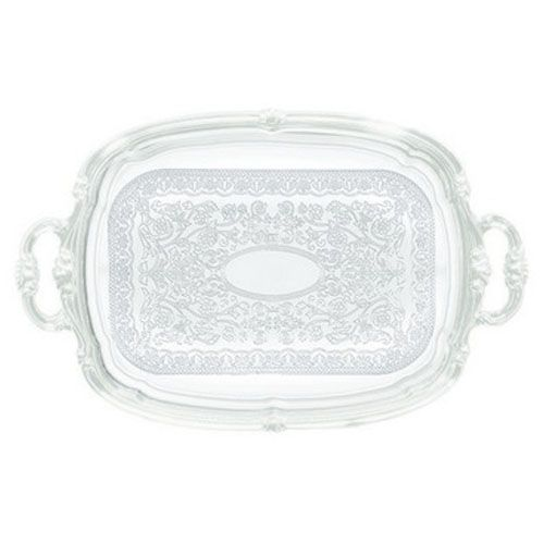 Winco CMT-1912, Chrome Plated Oblong Serving Tray with Handle and Engraved Edge