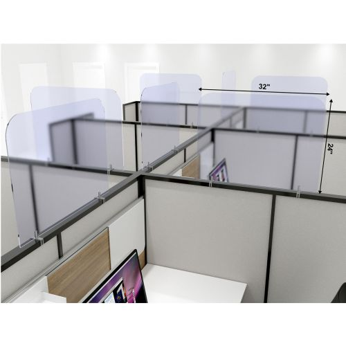 CPC5 32x24-Inch Acrylic Protective Guard for Cubicles w/Clamps