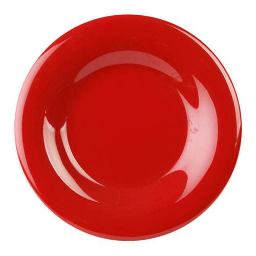 Thunder Group CR007PR 7 5/8 Inch Western Red Wide Rim Melamine Plate, DZ