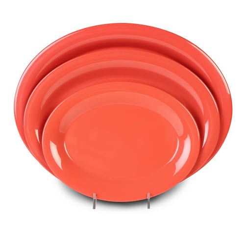 Thunder Group CR213RD 13 1/2 x 10 1/2 Inch Western Orange Melamine Platter, DZ