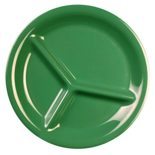 Thunder Group CR710GR 10 1/4 Inch Western Green 3 Compartment Melamine Plate, DZ
