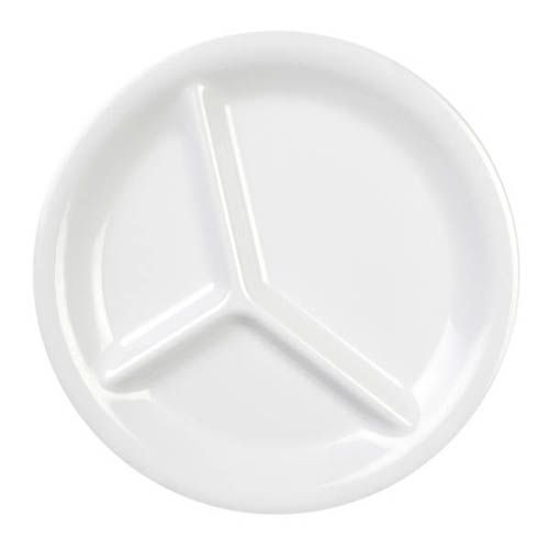 Thunder Group CR710W 10 1/4 Inch Western White 3 Compartment Melamine Plate, DZ