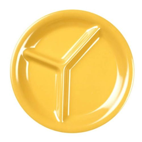 Thunder Group CR710YW 10 1/4 Inch Western Yellow 3 Compartment Melamine Plate, DZ