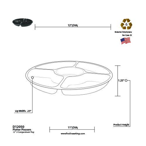Fineline Settings D12050.BK, 12-Inch 5-Compartment Platter Pleasers Black Plastic Round Trays, 25/CS
