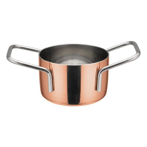 Winco DCWE-201C, 2-3/4-Inch Dia Stainless Steel Mini Casserole Pot, 2 Handles, Copper Plated